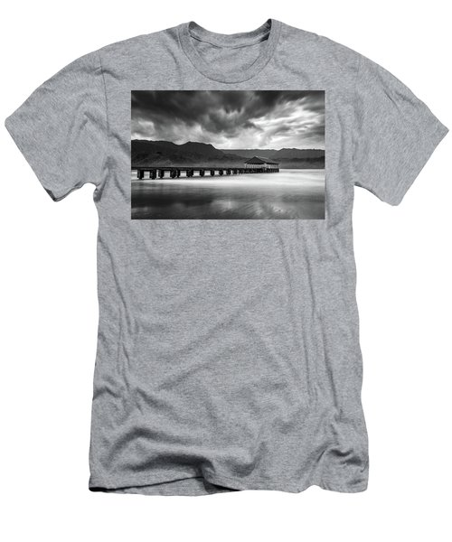 Hanalei Pier In Black And White Men's T-Shirt (Athletic Fit)