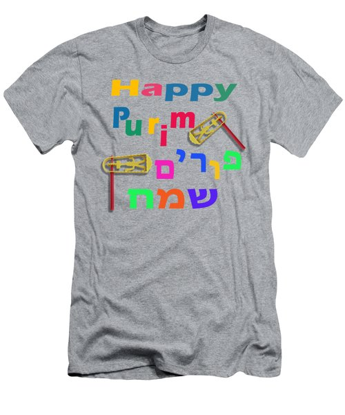 Happy Joyous Purim In Hebrew And English Men's T-Shirt (Athletic Fit)