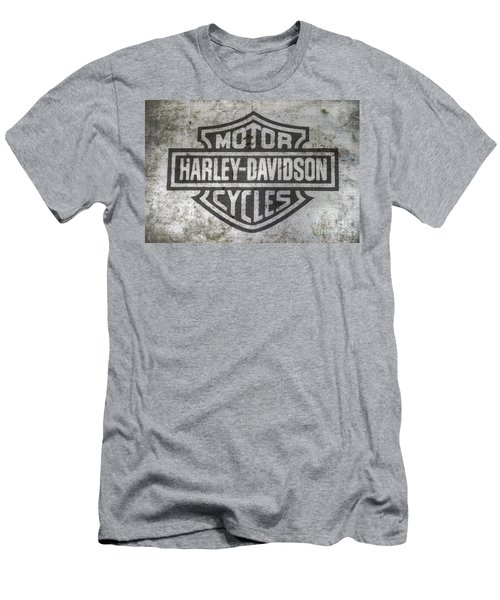 Harley Davidson Logo On Metal Men's T-Shirt (Slim Fit) by Randy Steele