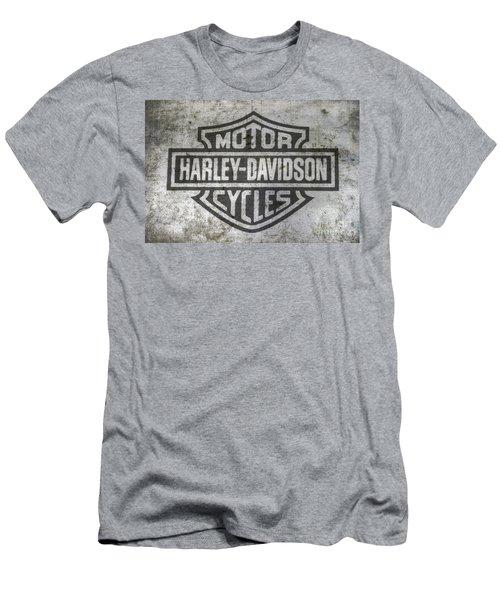 Harley Davidson Logo On Metal Men's T-Shirt (Athletic Fit)