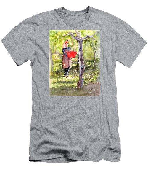 Men's T-Shirt (Slim Fit) featuring the painting Harvesting Anna's Grapes by Bonnie Rinier