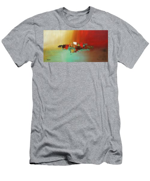 Men's T-Shirt (Slim Fit) featuring the painting Hashtag Happy - Abstract Art by Carmen Guedez