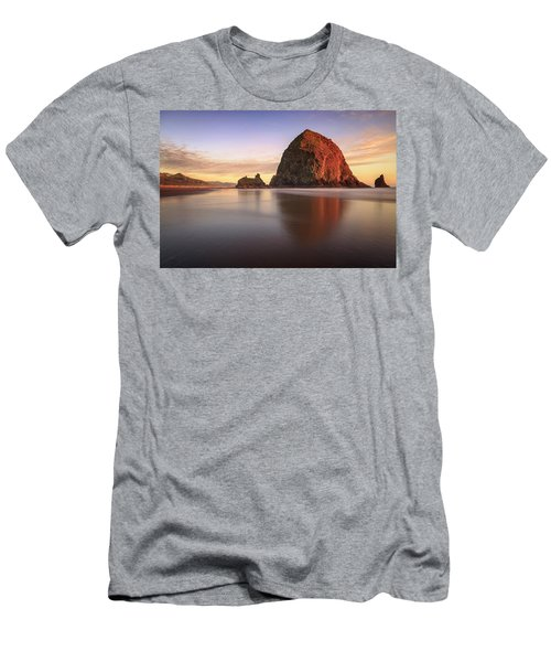 Men's T-Shirt (Athletic Fit) featuring the photograph Haystack Rock Sunset by Adam Romanowicz