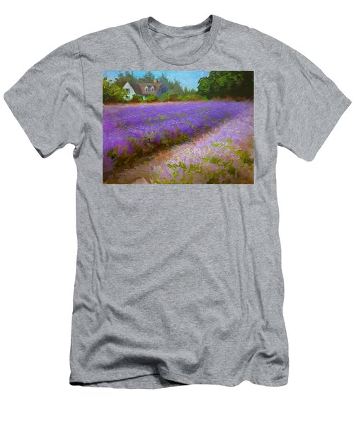 Impressionistic Lavender Field Landscape Plein Air Painting Men's T-Shirt (Slim Fit) by Karen Whitworth