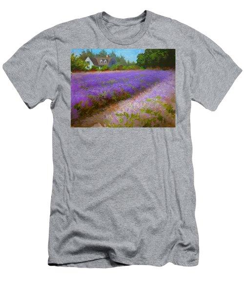 Impressionistic Lavender Field Landscape Plein Air Painting Men's T-Shirt (Athletic Fit)