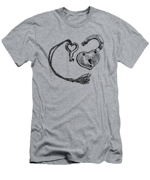 Heart Lock And Key Men's T-Shirt (Athletic Fit)
