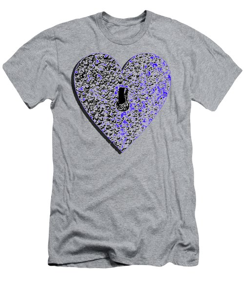 Men's T-Shirt (Slim Fit) featuring the photograph Heart Shaped Lock .png by Al Powell Photography USA