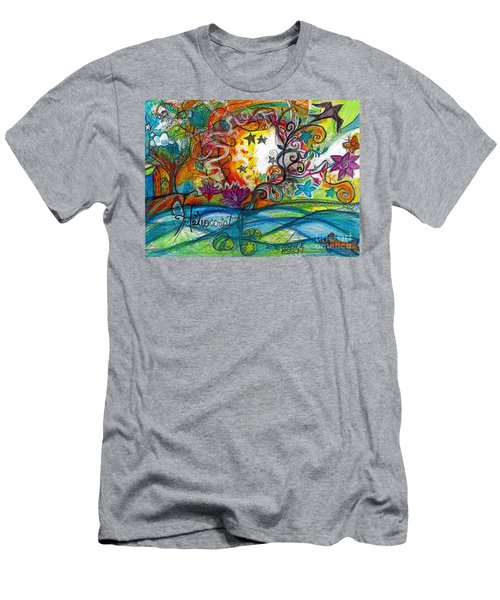 Men's T-Shirt (Slim Fit) featuring the painting Helios And Ophelia Posterized by Genevieve Esson
