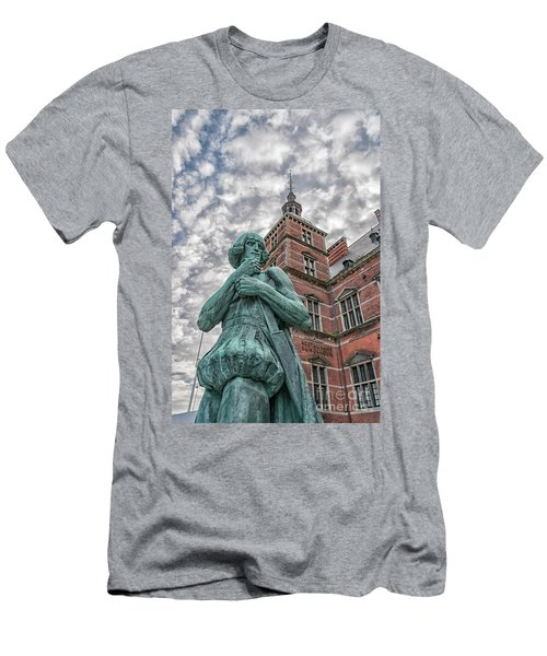 Men's T-Shirt (Slim Fit) featuring the photograph Helsingor Train Station Statue by Antony McAulay