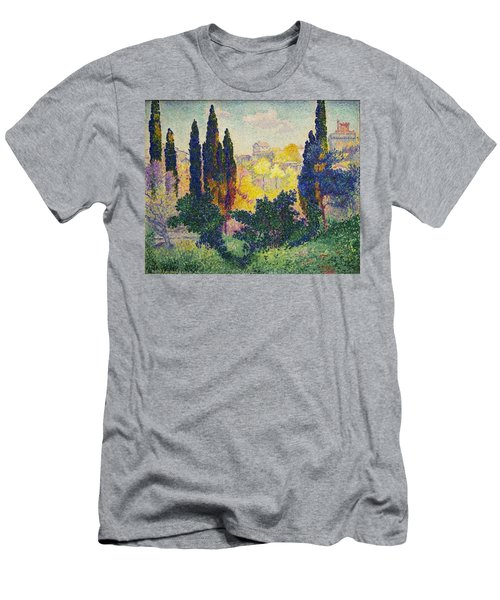 Men's T-Shirt (Athletic Fit) featuring the painting Henri Edmond Cross French Les Cypres A Cagnes by Artistic Panda