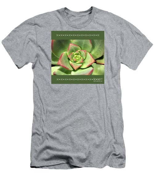 Hens And Chicks Succulent And Design Men's T-Shirt (Slim Fit) by Joy Watson