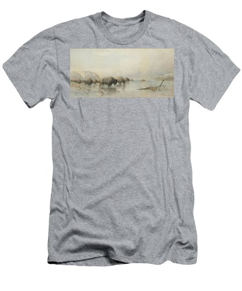 Herd Of Buffalo Watering Men's T-Shirt (Athletic Fit)