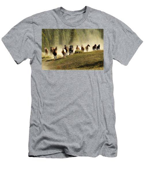 Herd Of Wild Horses Men's T-Shirt (Athletic Fit)