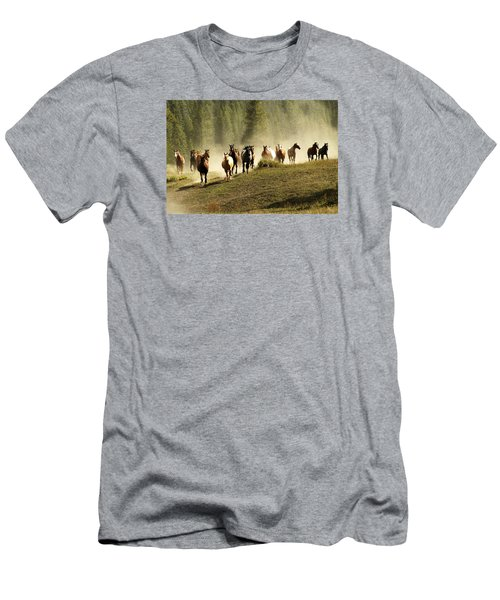 Herd Of Wild Horses Men's T-Shirt (Athletic Fit)