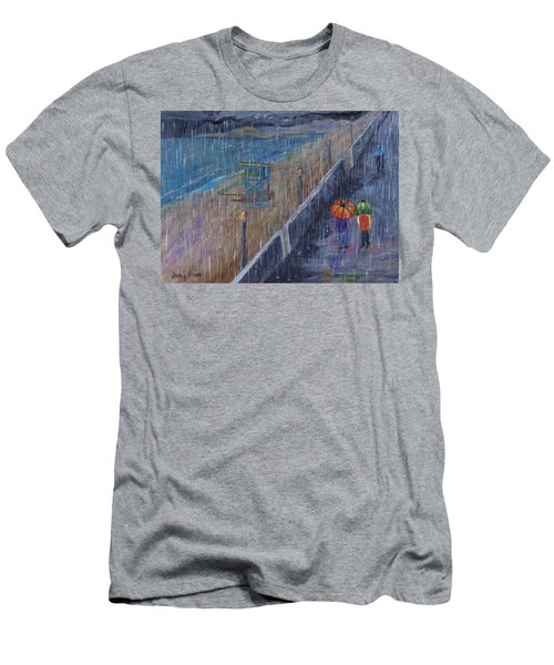 Men's T-Shirt (Athletic Fit) featuring the painting Hermosa Beach Rain by Jamie Frier