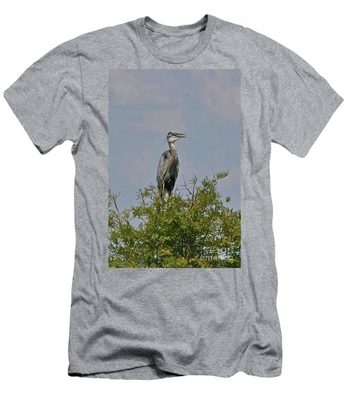 Men's T-Shirt (Slim Fit) featuring the photograph Heron Sitting In Tree by Carol  Bradley