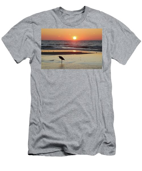 Heron Watching Sunrise Men's T-Shirt (Athletic Fit)