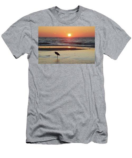 Heron Watching Sunrise Men's T-Shirt (Slim Fit) by Michael Thomas