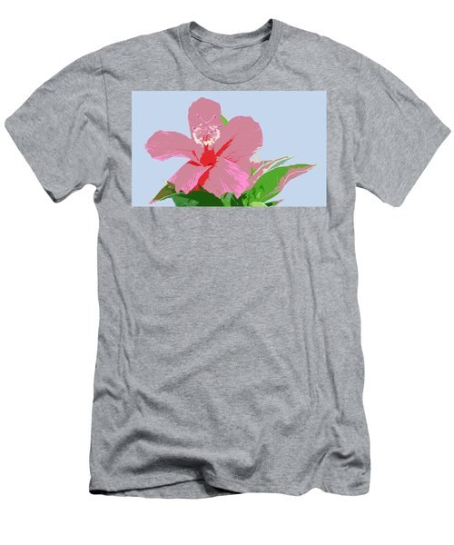 Men's T-Shirt (Slim Fit) featuring the digital art Hibiscus Flower Art - 2 by Karen Nicholson