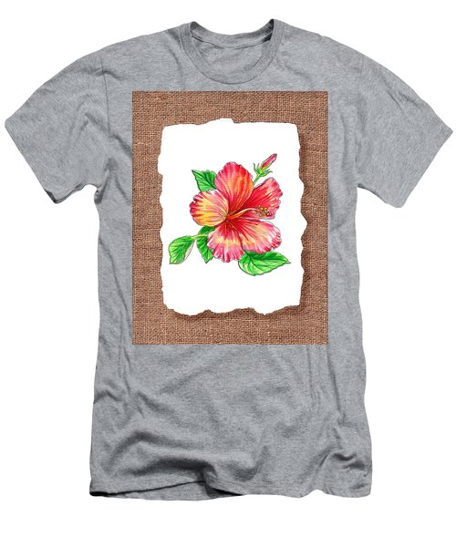 Hibiscus Flower Botanical Men's T-Shirt (Athletic Fit)
