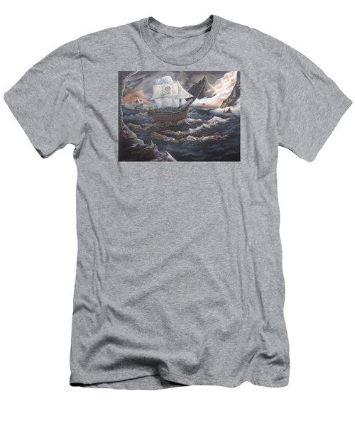 Men's T-Shirt (Slim Fit) featuring the painting Hidden Skull Cove by Kevin F Heuman
