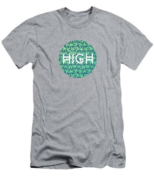 High Typo  Cannabis   Hemp  420  Marijuana   Pattern Men's T-Shirt (Athletic Fit)