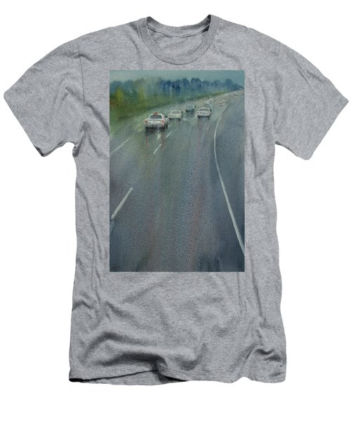 Highway On The Rain02 Men's T-Shirt (Slim Fit) by Helal Uddin