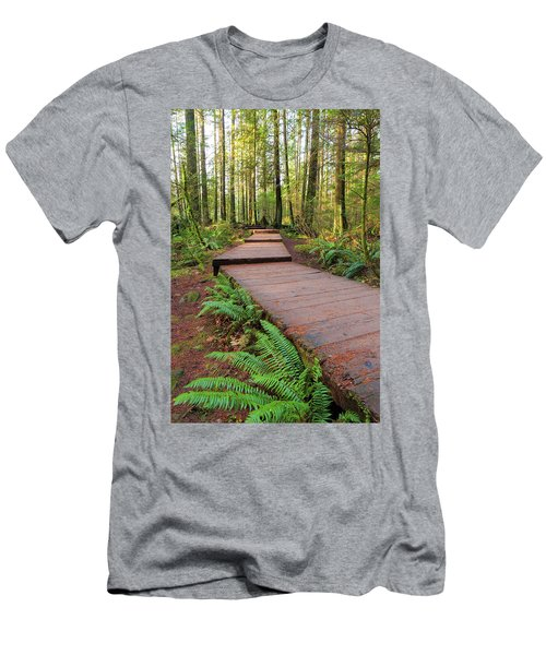 Hiking Trail Wood Walkway In Lynn Canyon Park Men's T-Shirt (Athletic Fit)
