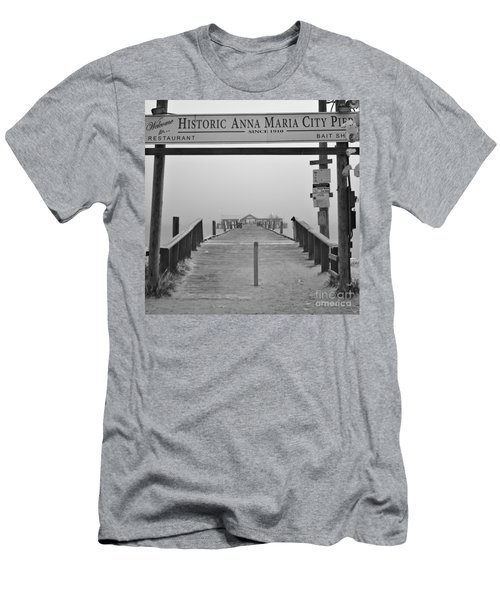 Historic Anna Maria City Pier In Fog Infrared 52 Men's T-Shirt (Athletic Fit)