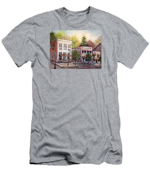 Men's T-Shirt (Slim Fit) featuring the painting Historic Blue Ridge Shops by Gretchen Allen