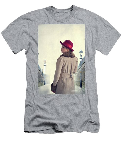 Historical Woman In An Overcoat And Red Hat Men's T-Shirt (Athletic Fit)
