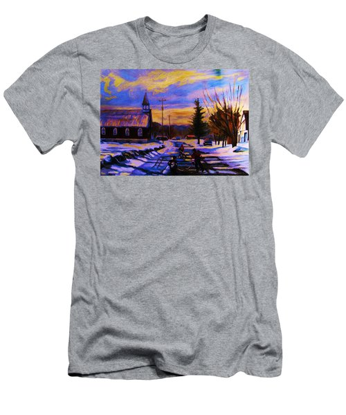 Hockey Game In The Village Men's T-Shirt (Athletic Fit)