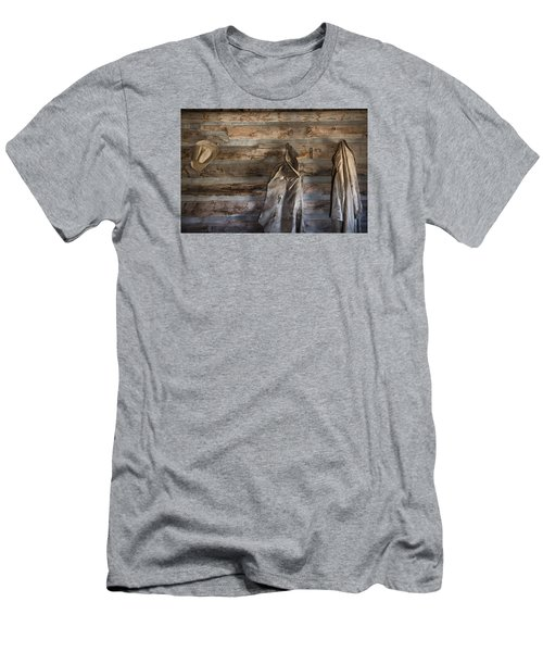 Hole-in-the-wall Cabin At Old Trail Town In Cody In Wyoming Men's T-Shirt (Slim Fit) by Carol M Highsmith