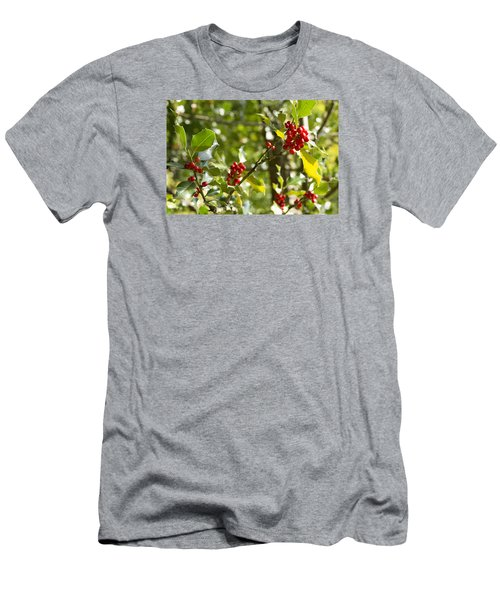 Holly With Berries Men's T-Shirt (Slim Fit) by Chevy Fleet
