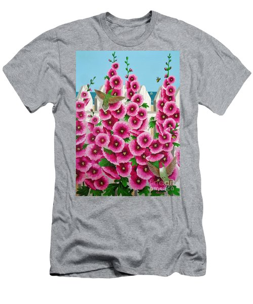 Hollyhocks And Humming Birds Men's T-Shirt (Slim Fit) by Katherine Young-Beck