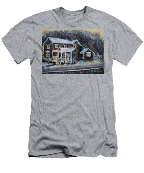 Home On A Snowy Eve Men's T-Shirt (Slim Fit) by Rita Brown