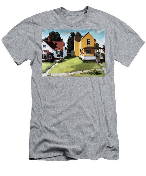 Hometown - Urban Scene Oil Painting Men's T-Shirt (Athletic Fit)