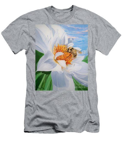 Men's T-Shirt (Slim Fit) featuring the painting Honey Bee On White Flower by Sigrid Tune