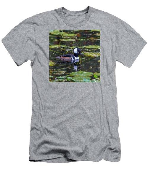 Hooded Merganser Men's T-Shirt (Slim Fit) by Jerry Cahill