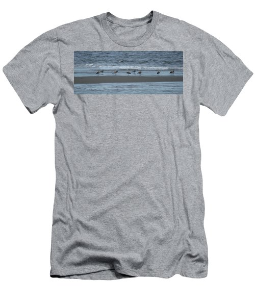 Men's T-Shirt (Slim Fit) featuring the photograph Horizontal Shoreline With Birds by Margie Avellino