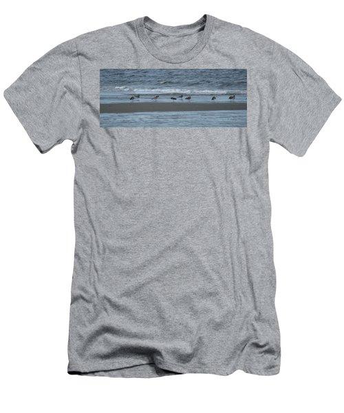 Horizontal Shoreline With Birds Men's T-Shirt (Slim Fit) by Margie Avellino