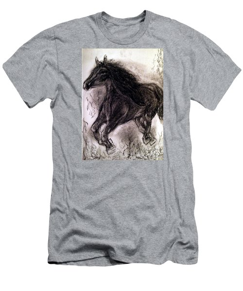 Men's T-Shirt (Slim Fit) featuring the painting Horse by Brindha Naveen