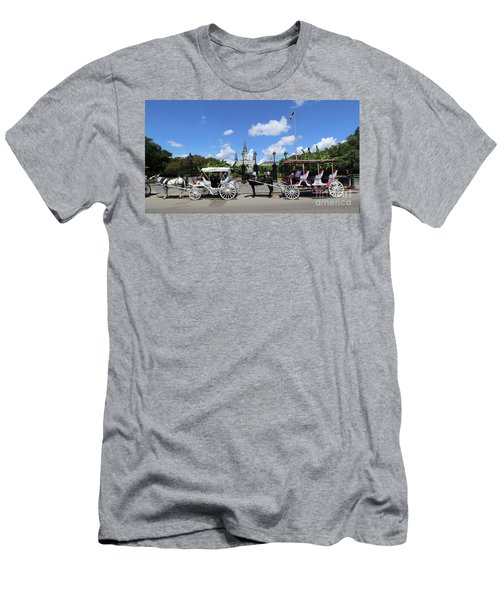 Men's T-Shirt (Slim Fit) featuring the photograph Horse Carriages by Steven Spak