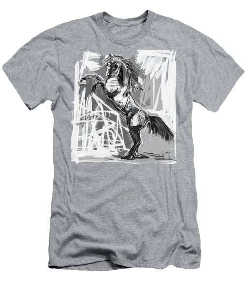 Horse Rising High Black And White Men's T-Shirt (Athletic Fit)