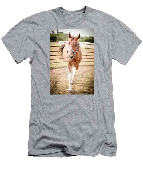 Men's T-Shirt (Slim Fit) featuring the photograph Horse Walking Toward Camera by Kelly Hazel