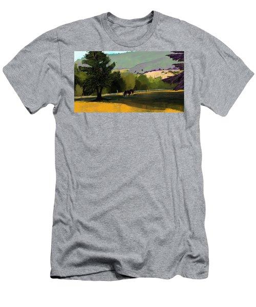 Horses In Field Men's T-Shirt (Slim Fit) by Debra Baldwin