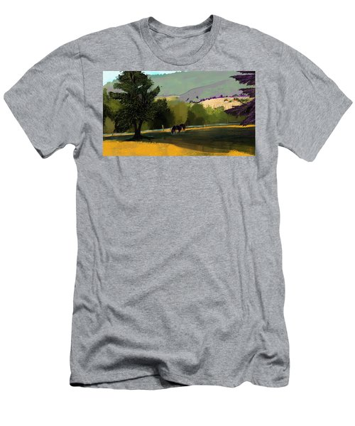Horses In Field Men's T-Shirt (Athletic Fit)