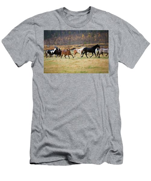 Men's T-Shirt (Slim Fit) featuring the photograph Horses by Sharon Jones