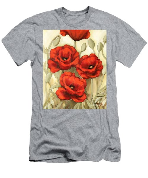 Hot Red Poppies Men's T-Shirt (Slim Fit) by Inese Poga