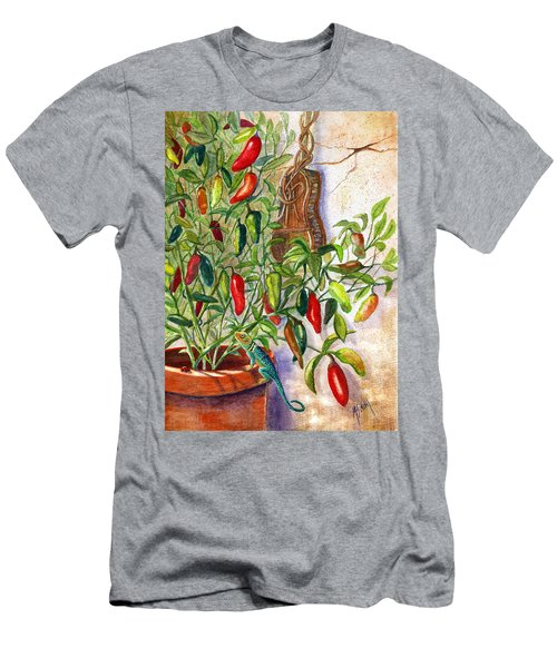 Men's T-Shirt (Slim Fit) featuring the painting Hot Sauce On The Vine by Marilyn Smith